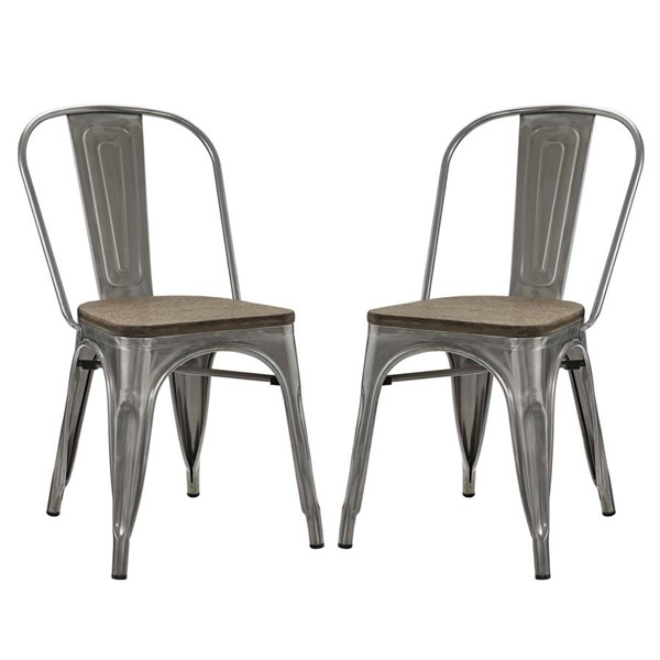 2 Modway Furniture Promenade Gunmetal Dining Side Chairs EEI-2751-GME-SET