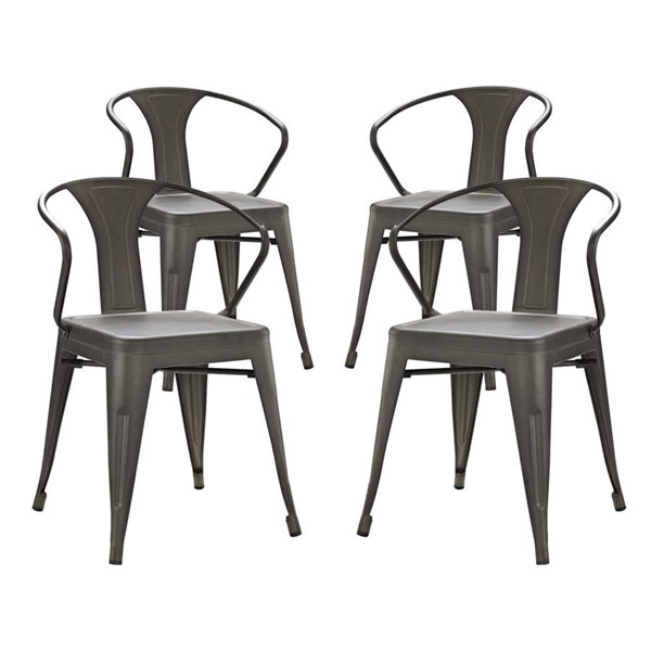 4 Modway Furniture Promenade Brown Dining Chairs EEI-2753-BRN-SET
