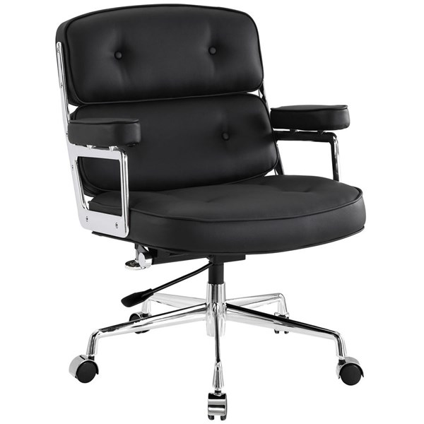 Remix Black Vinyl Aluminum High Back Office Chairs EEI-276-HOF-CH-VAR