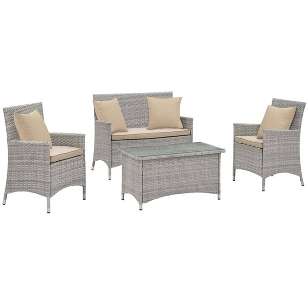 Modway Furniture Bridge Beige 4pc Outdoor Patio Conversation Sets EEI-2763-LGR-VAR