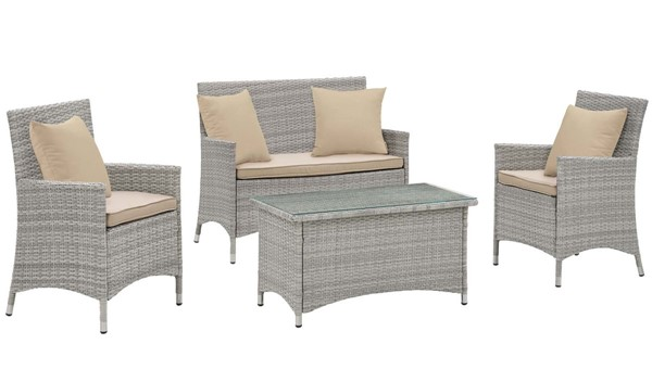 Modway Furniture Bridge Beige 4pc Outdoor Patio Conversation Set EEI-2763-LGR-BEI