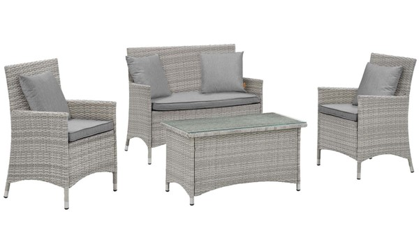 Modway Furniture Bridge Gray 4pc Outdoor Patio Conversation Set EEI-2763-LGR-GRY