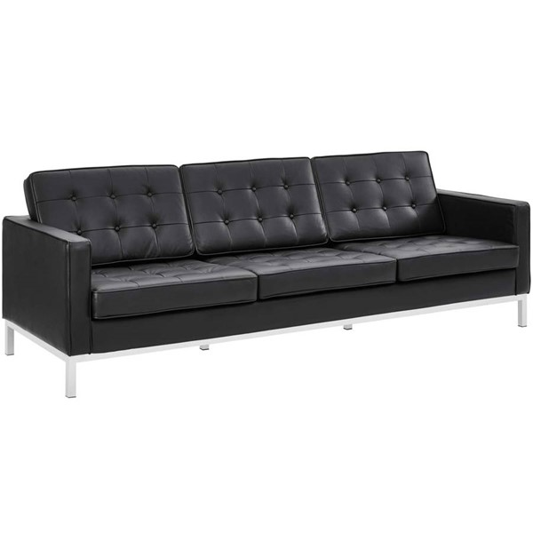 Modway Furniture Loft Black Leather Sofa EEI-2779-BLK