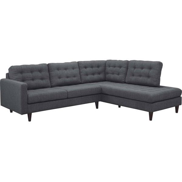 Modway Furniture Empress Gray Right Facing 2pc Bumper Sectional EEI-2797-DOR