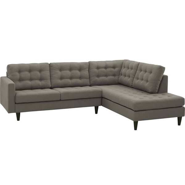 Modway Furniture Empress Granite Right Facing 2pc Bumper Sectional EEI-2797-GRA