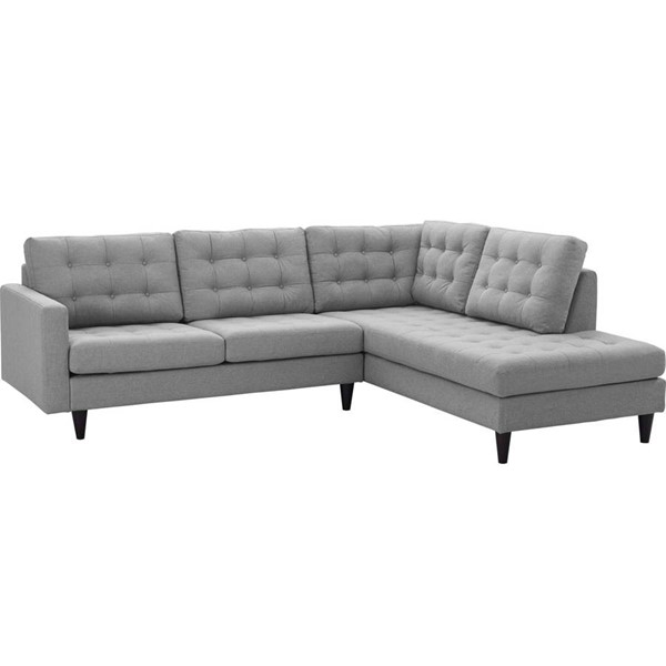 Modway Furniture Empress Light Gray Right Facing 2pc Bumper Sectional EEI-2797-LGR