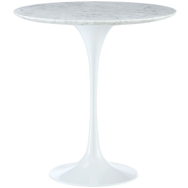 Lippa Traditional White Marble Aluminum 20 Inch Side Table EEI-280-WHI
