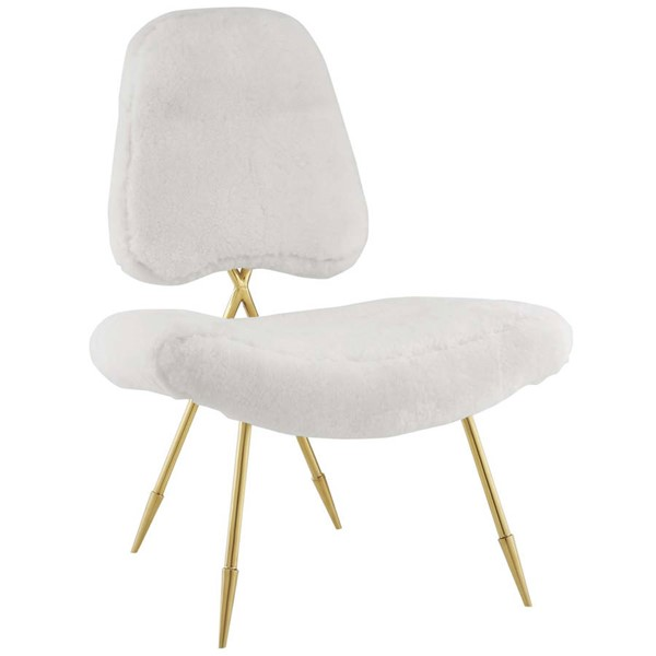 Modway Furniture Ponder White Upholstered Sheepskin Fur Lounge Chair EEI-2810-WHI
