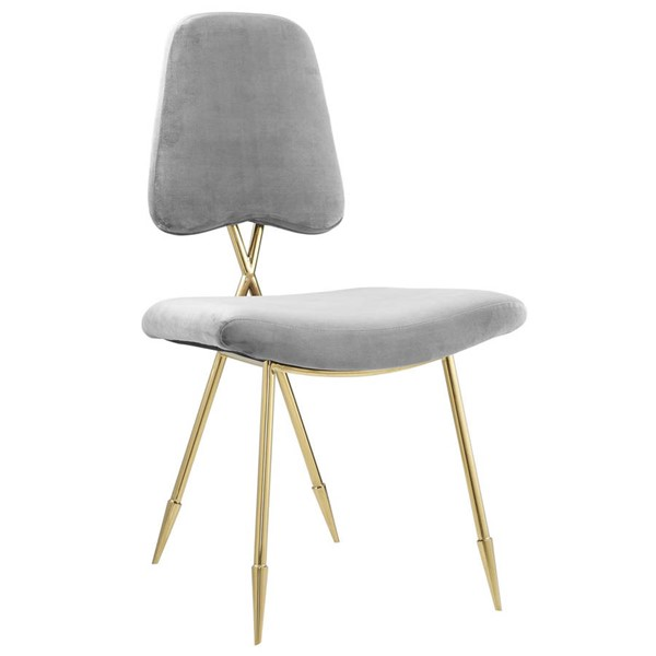 Modway Furniture Ponder Gray Velvet Upholstered Dining Side Chair EEI-2811-GRY