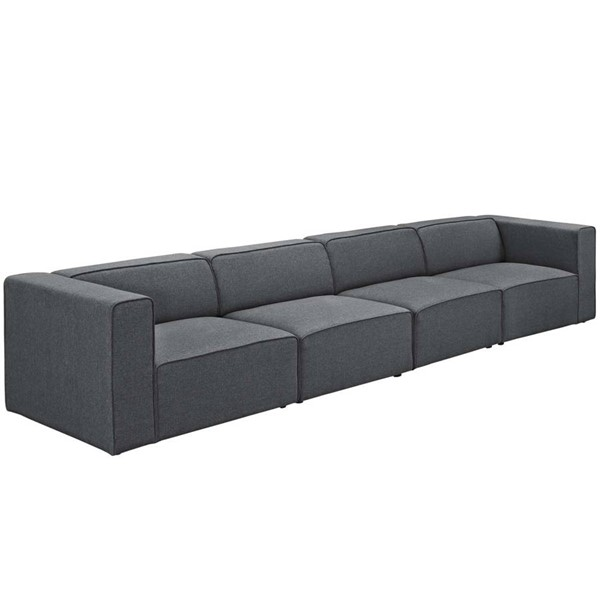 Modway Furniture Mingle Gray Fabric Upholstered Sofa EEI-2829-GRY