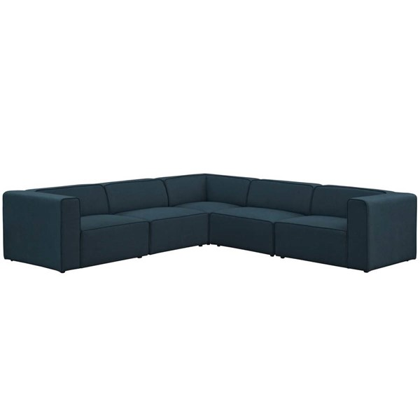 Modway Furniture Mingle Blue Fabric 5pc Sectional EEI-2835-BLU