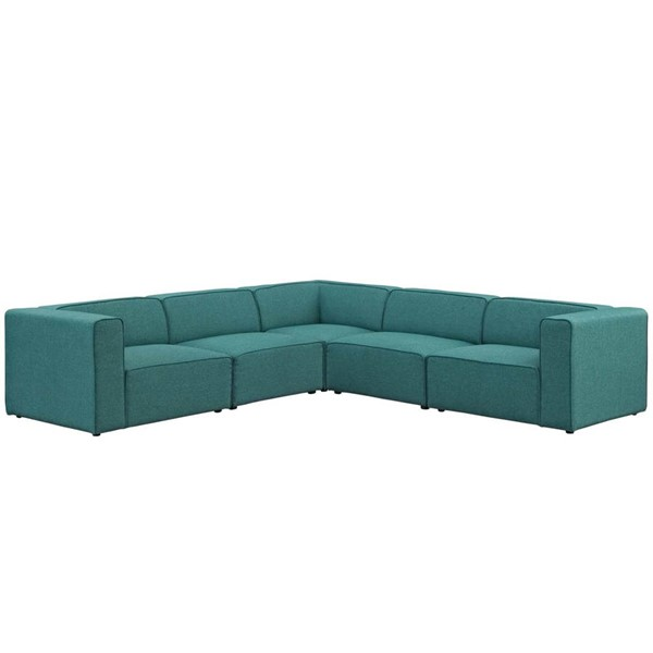 Modway Furniture Mingle Teal Fabric 5pc Sectional EEI-2835-TEA
