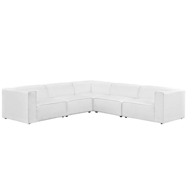 Modway Furniture Mingle White Fabric 5pc Sectional EEI-2835-WHI