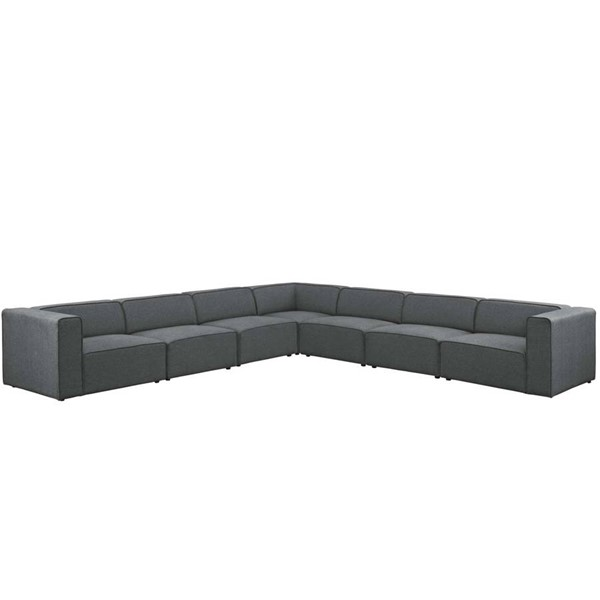 Modway Furniture Mingle Gray Fabric 7pc Sectional EEI-2837-GRY