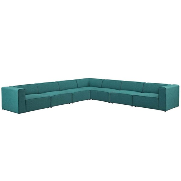 Modway Furniture Mingle Teal Fabric 7pc Sectional EEI-2837-TEA