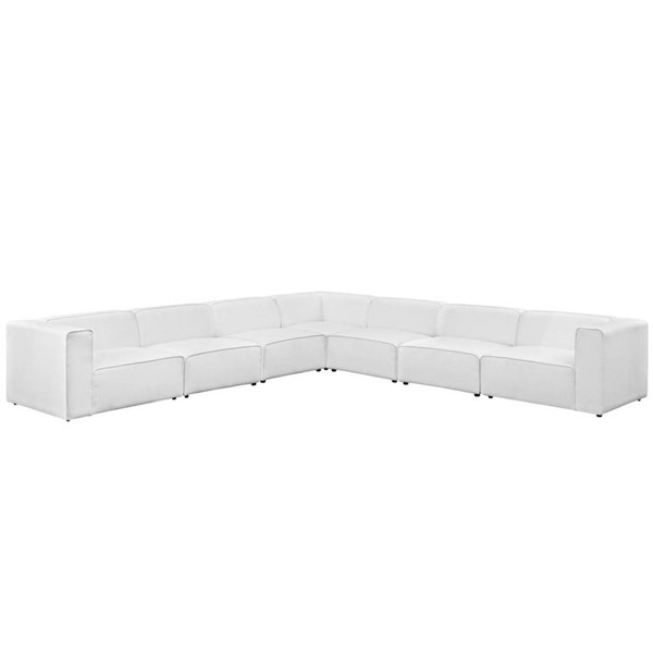 Modway Furniture Mingle White Fabric 7pc Sectional EEI-2837-WHI