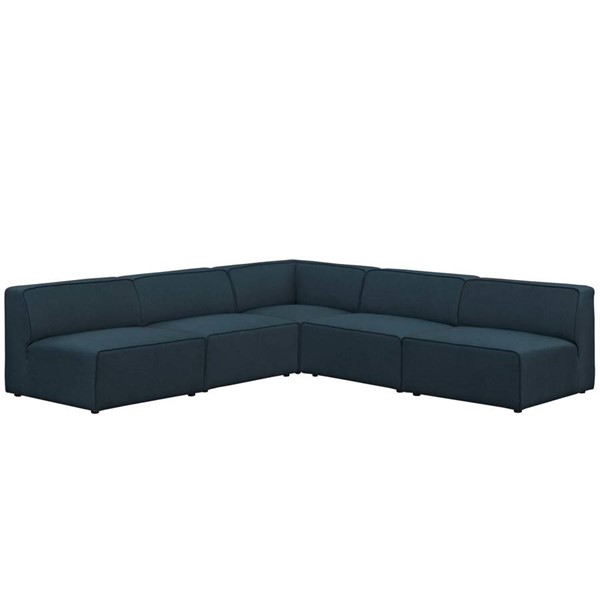 Modway Furniture Mingle Blue Fabric 5pc Armless Sectional EEI-2839-BLU