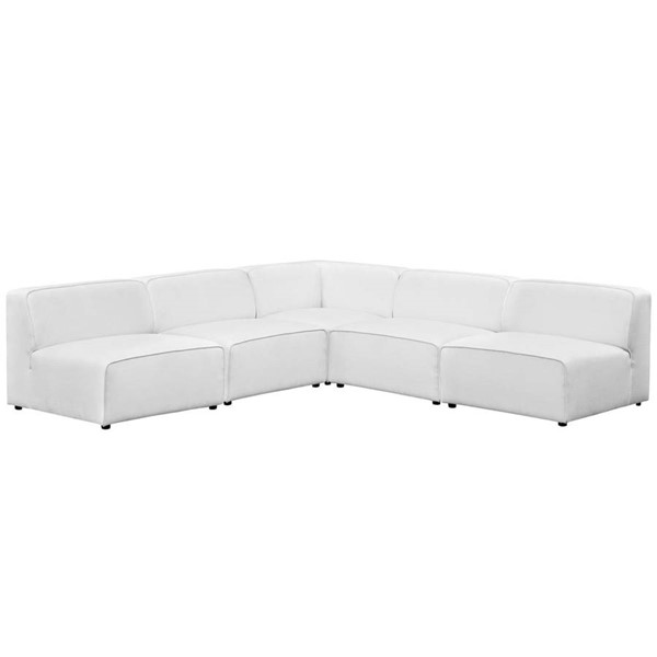 Modway Furniture Mingle White Fabric 5pc Armless Sectional EEI-2839-WHI