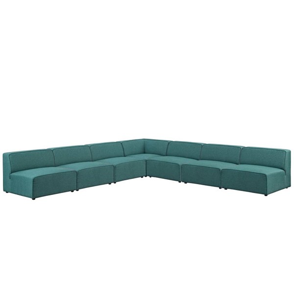 Modway Furniture Mingle Teal Fabric 7pc Armless Sectional EEI-2841-TEA