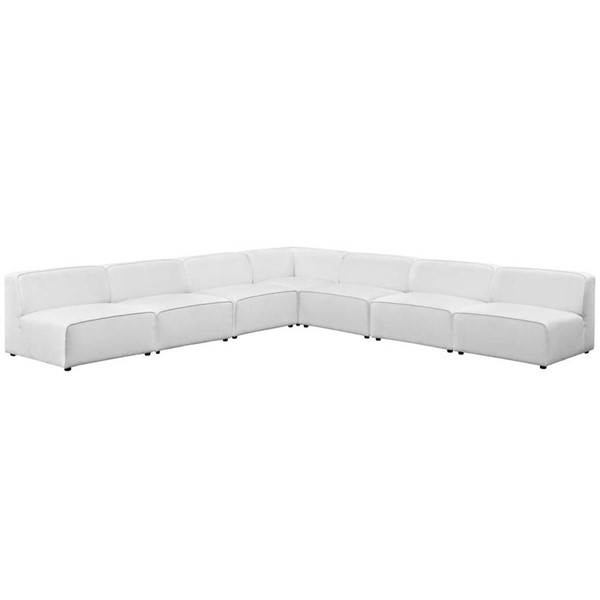 Modway Furniture Mingle White Fabric 7pc Armless Sectional EEI-2841-WHI