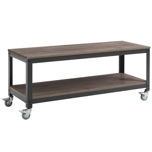 Modway Furniture Vivify Gray Walnut Tiered Serving or TV Stand EEI-2855-GRY-WAL