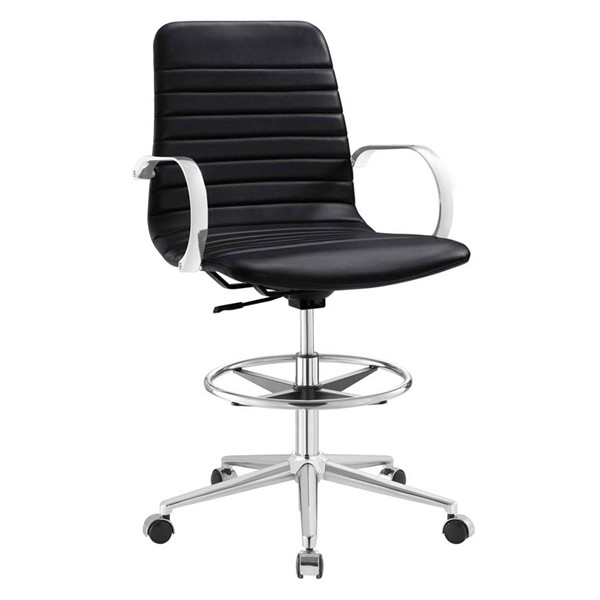 Modway Furniture Groove Black Ribbed Back Drafting Chair EEI-2863-BLK