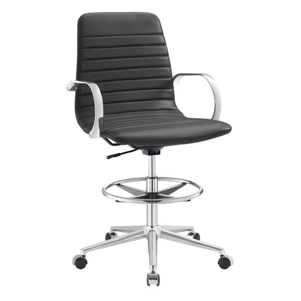 Modway Furniture Groove Gray Ribbed Back Drafting Chair EEI-2863-GRY