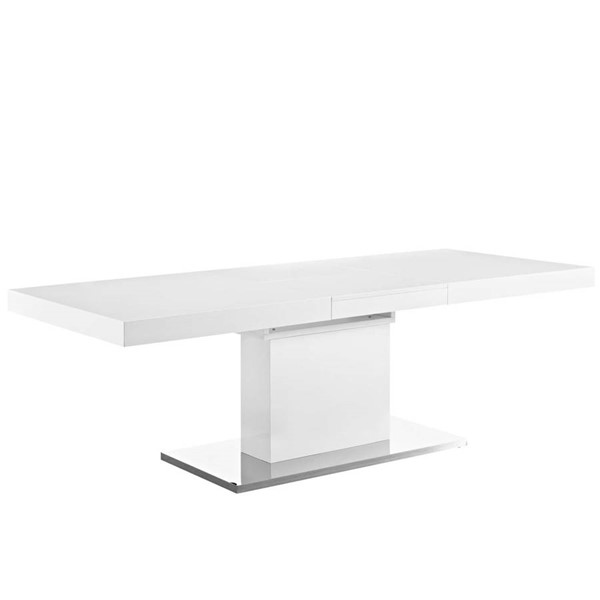 Modway Furniture Vector White Expandable Dining Table EEI-2870-WHI-SLV