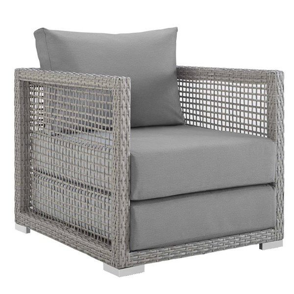 Modway Furniture Aura Gray Rattan Outdoor Patio Armchair EEI-2918-GRY-GRY