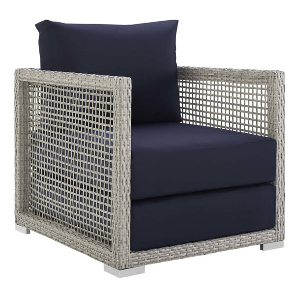 Modway Furniture Aura Gray Navy Rattan Outdoor Patio Armchair EEI-2918-GRY-NAV