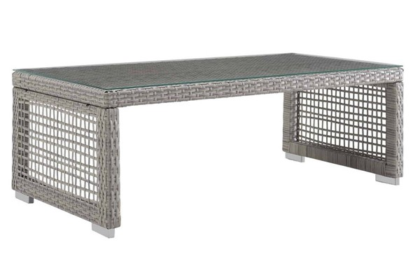 Modway Furniture Aura Gray Rattan Outdoor Patio Coffee Table EEI-2919-GRY