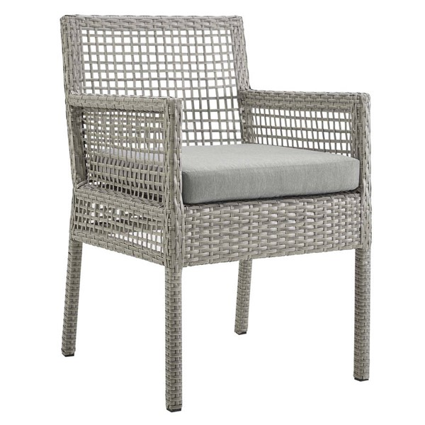 Modway Furniture Aura Gray Outdoor Patio Wicker Rattan Dining Armchair EEI-2920-GRY-GRY