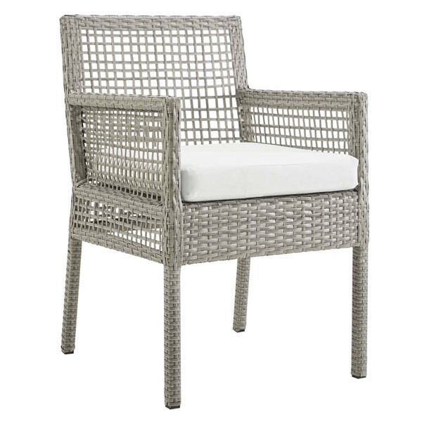 Modway Furniture Aura Gray White Outdoor Patio Wicker Rattan Dining Armchair EEI-2920-GRY-WHI