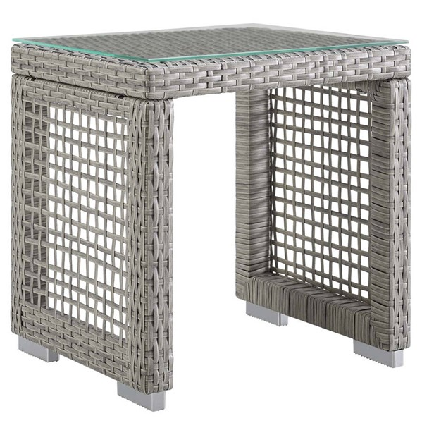 Modway Furniture Aura Gray Outdoor Patio Wicker Rattan Side Table EEI-2922-GRY