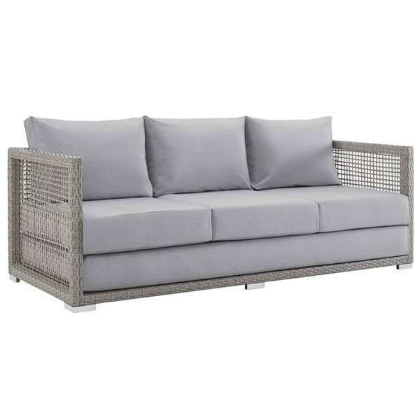 Modway Furniture Aura Gray Outdoor Patio Wicker Rattan Sofa EEI-2923-GRY-GRY