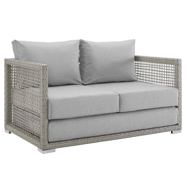Modway Furniture Aura Gray Outdoor Patio Wicker Rattan Loveseat EEI-2924-GRY-GRY