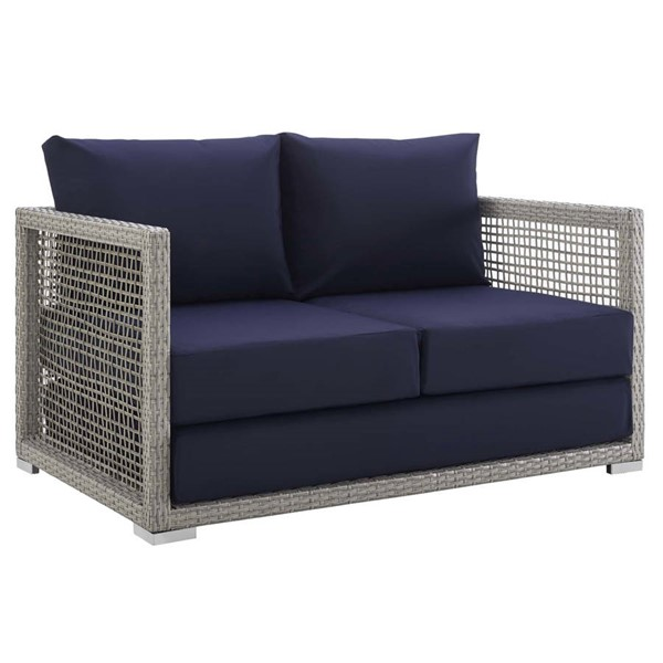 Modway Furniture Aura Navy Outdoor Patio Wicker Rattan Loveseat EEI-2924-GRY-NAV