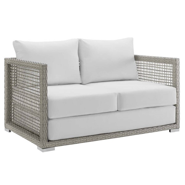 Modway Furniture Aura White Outdoor Patio Wicker Rattan Loveseat EEI-2924-GRY-WHI