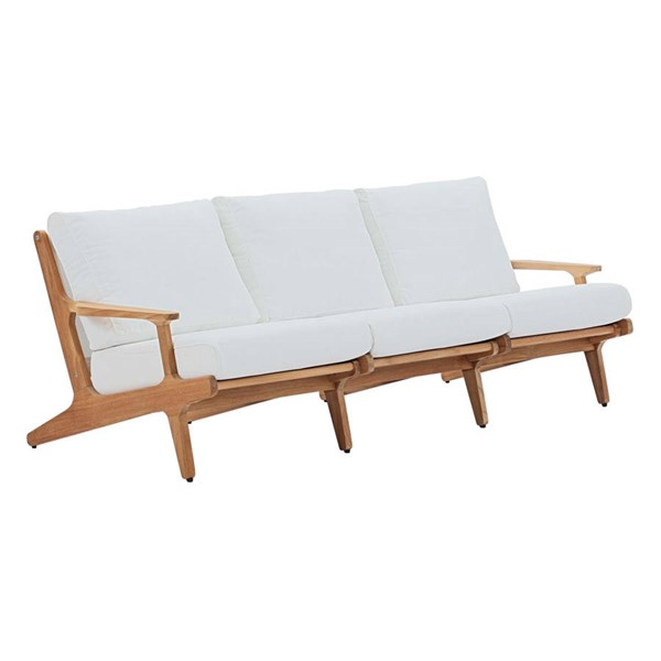 Modway Furniture Saratoga White Outdoor Patio Teak Sofa EEI-2934-NAT-WHI