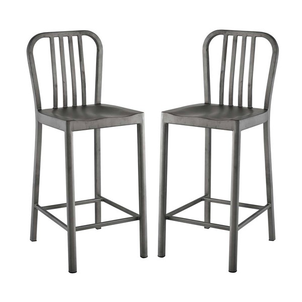 2 Modway Furniture Clink Silver Counter Stools EEI-2954-SLV-SET