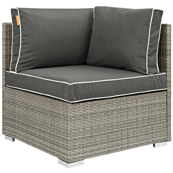 Modway Furniture Repose Charcoal Outdoor Patio Corner EEI-2956-LGR-CHA