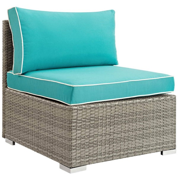 Modway Furniture Repose Turquoise Outdoor Patio Armless Chair EEI-2958-LGR-TRQ