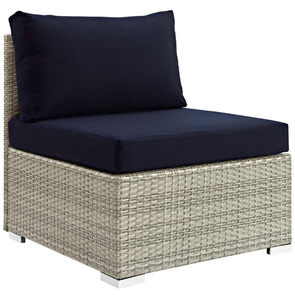 Modway Furniture Repose Navy Fabric Outdoor Patio Armless Chair EEI-2959-LGR-NAV