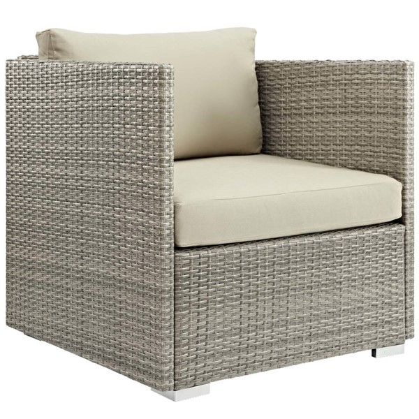 Modway Furniture Repose Beige Fabric Outdoor Patio Armchair EEI-2961-LGR-BEI