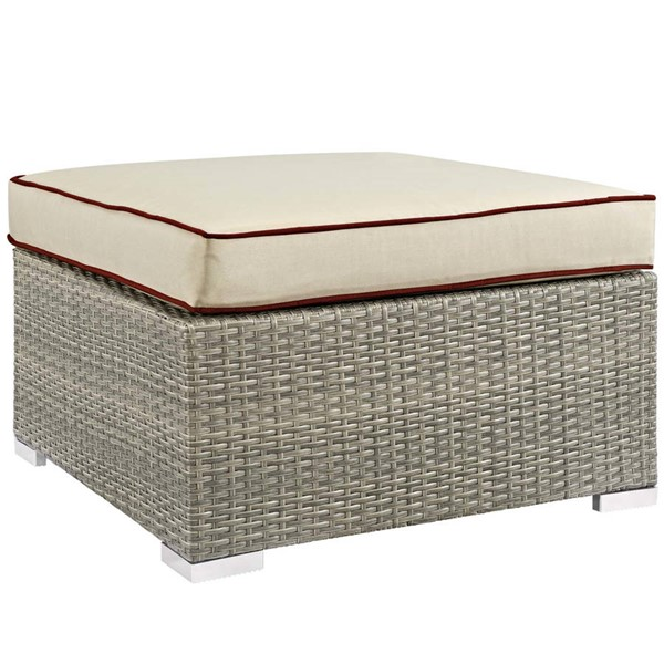 Modway Furniture Repose Beige Outdoor Patio Upholstered Fabric Ottomans EEI-2962-LGR-OOTT-VAR