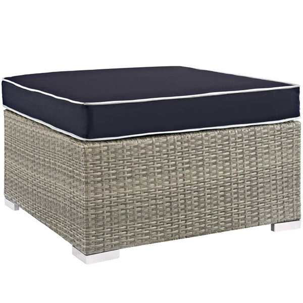 Modway Furniture Repose Navy Outdoor Patio Upholstered Ottoman EEI-2962-LGR-NAV