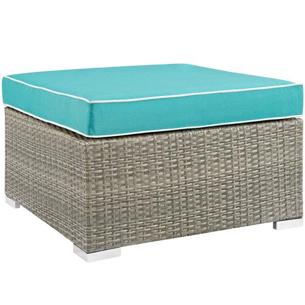 Modway Furniture Repose Turquoise Outdoor Patio Upholstered Ottoman EEI-2962-LGR-TRQ