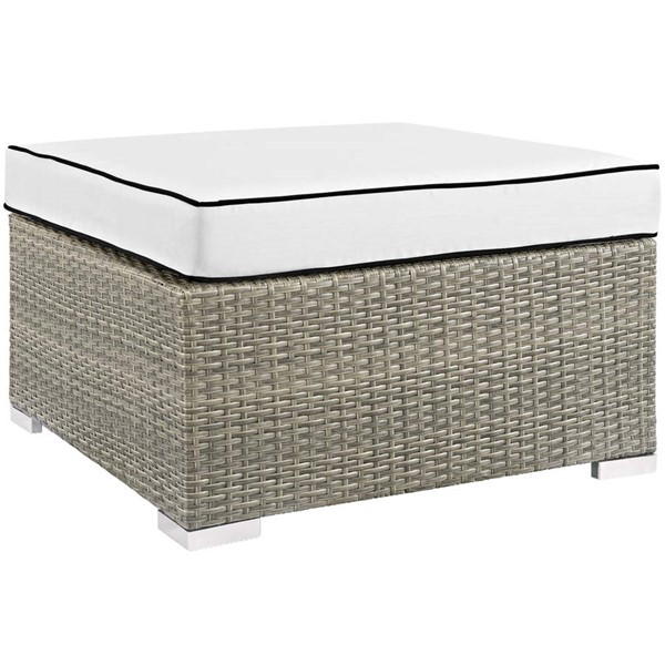 Modway Furniture Repose White Outdoor Patio Upholstered Ottoman EEI-2962-LGR-WHI