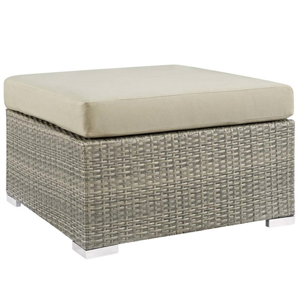 Modway Furniture Repose Beige Fabric Outdoor Patio Ottoman EEI-2963-LGR-BEI