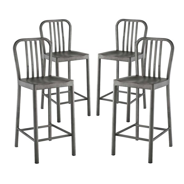 4 Modway Furniture Clink Silver Counter Stools EEI-2964-SLV-SET